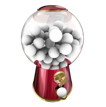 gumball: Gumball machine or candy dispenser giving you a sugary treat or snack, with blank copy space for your message or text