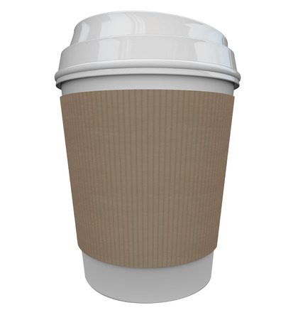 jolt: A cup of coffee from a store or restaurant with a holder sleeve to help wake you up in the morning with a jolt of caffeine java, with black copy space for your text, word, logo or message