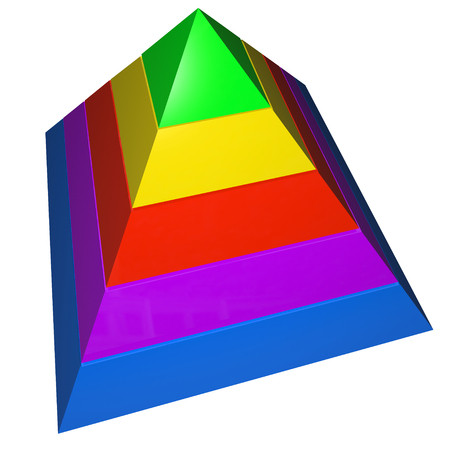 illustrates: A pyramid with five steps colored as levels or principles in instruction with blank copy space for your text or message Stock Photo