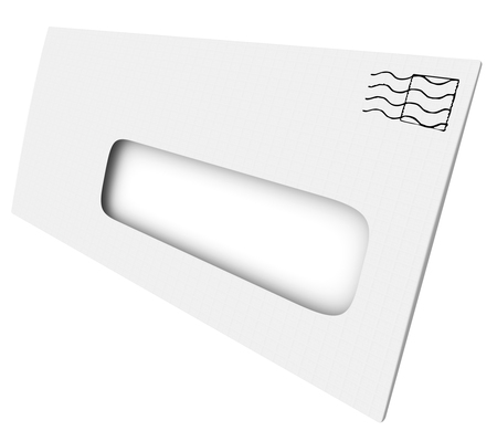 White mailing envelope with blank copy space  in an opening or window for mailing address or your message or wording Stock Photo
