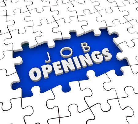 Offene Positionen Wörter in einem Puzzle Loch als ein Bedürfnis Kandidaten für ungefüllte Arbeiter oder Angestellten Mitarbeiter Schlitze zu finden