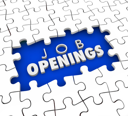 Open Positions words in a puzzle hole as a need to find job candidates for unfilled worker or staff employee slots