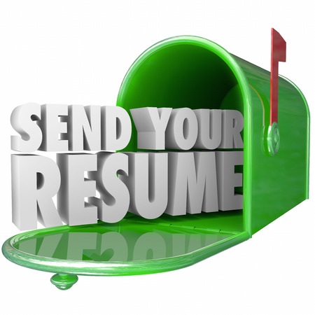 Send Your Resume in 3d letters in a green metal mailbox to apply for an open job position in a new career opportunity Stock Photo