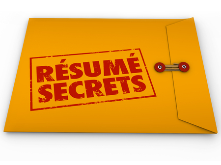 Resume Secrets words stamped on yellow envelope to illustrate tips, guidance, advice and instructions for a job interview or applying for an open position Archivio Fotografico