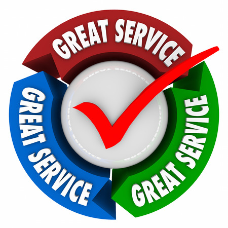 attitudes: Great Service words on 3d arrows in a circle or feedback loop to illustrate great customer support or help, and superior attention to client satisfaction Stock Photo