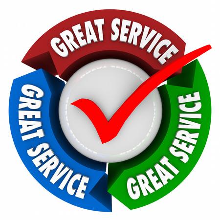actitud: palabras un gran servicio en flechas 3d en un bucle de retroalimentación círculo o para ilustrar el apoyo al cliente o ayuda, y la atención superior a la satisfacción del cliente