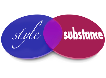 rhetorical: Style over substance words on two circles with overlapping areas to illustrate flash vs function and the importance of valuable content or information Stock Photo