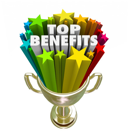 features: Top Benefits words in a gold trophy with stars or fireworks to illustrate best fringe bonuses, compensation, pay or rewards from a job, product, service or opportunity