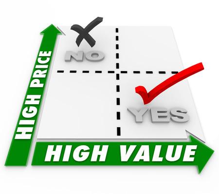 Lage prijs en High Value keuzes op een matrix om prijzen te vergelijken voor de beste of de bovenkant producten en diensten te illustreren Stockfoto