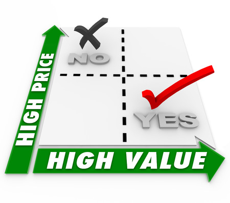 Low Price and High Value choices on a matrix to illustrate comparison shopping for best or top products and services