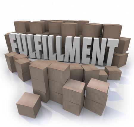 Fulfillment woord in 3d letters omgeven door kartonnen dozen in een magazijn naar een bedrijf, winkel of e-commerce website verzenden van orders of producten aan klanten te illustreren Stockfoto