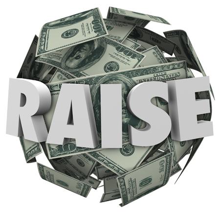Relever le mot en lettres 3D sur une boule ou une sphère de billets de cent dollars pour illustrer plus d'argent, revenu, rémunération ou compensation Banque d'images - 45537035