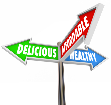 opting: Delicious, healthy and affordable words on three arrow signs to illustrate good nutrition choices in eating or dining Stock Photo