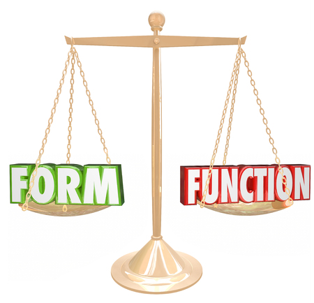 rhetorical: Form Vs Function 3d words on a gold scale to illustrate style over substance or aesthetic value weighed against practical purpose Stock Photo