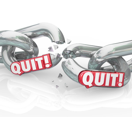 breaking off: Quit word in 3d letters on chain links to illustrate leaving a job, retiring, separating or ending a career