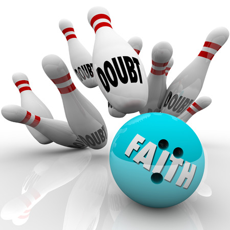 faith: Faith vs Doubt bowling ball striking pins to illustrate confidence, belief and religious conviction leading you to success over uncertainty