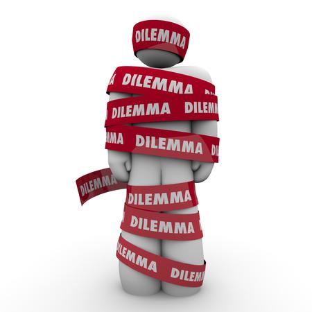 Dilemma woord over rode vastgebonden rond een man of een persoon om te illustreren wordt gevangen of gevangen in een probleem, uitdaging, uitgifte of problemen