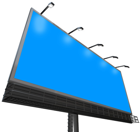 billboard background: Blue background for your copyspace, text or message on an outdoor billboard advertising sign