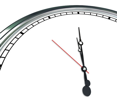 message text: White clock face and ornate hands in blank copy space showing time for your message, text or communication