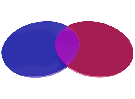 shared sharing: Two circles overlapping to illustrated shared or common properties, interests or characteristics, with black space for your copy, message or text