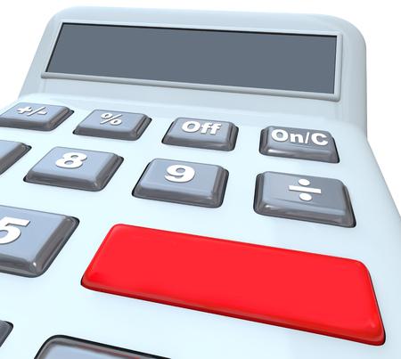 calculadora: Calculadora con el botón rojo en blanco grande para su propio texto y una pantalla digital con copia espacio para su mensaje o texto que se añadirá