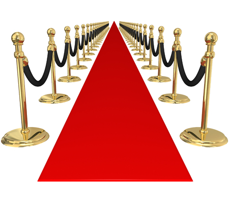 red velvet rope: Red carpet and line of gold stanchions with velvet ropes to illustrate welcome, arrival or invitation to an important, exclusive vip party or event