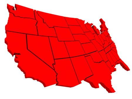 campestre: Estados Unidos de América EE.UU. mapa 3d de fondo rojo para ilustrar el país o nación geografía