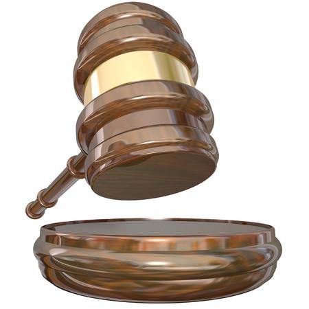 De hamer van een rechter en blok als een uitspraak of het vonnis is opgelegd aan een rechtbank rechtszaak of een zaak te beslissen