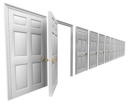 embark: One open doorway in a line of many closed doors to illustrate a unique or special opportunity to take a new path or embark on a new job or career Stock Photo