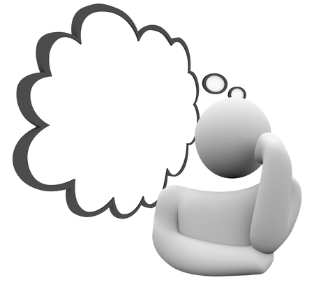 Thinker or thinking person with a thought cloud wondering or daydreaming on a plan, question, wish or scheme