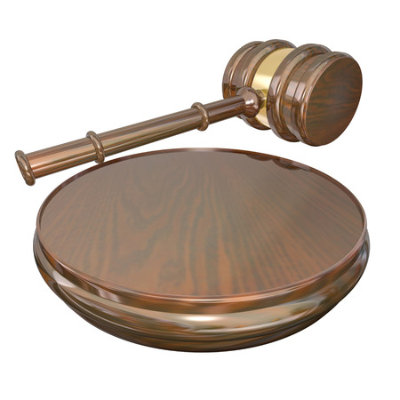 verdict: A wooden gavel and block used by a judge to announce a decision or court case verdict or settlement Stock Photo