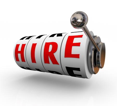 peligro: Alquiler de palabra sobre ruedas o diales de m�quinas tragamonedas en 3D para ilustrar el riesgo y el peligro de buscar y encontrar el mejor candidato para un puesto de trabajo o cargo Foto de archivo
