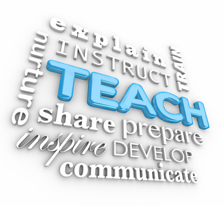 instruct: Teach word in 3d letters and word collage with explain, instruct, train, nurture, share, prepare, develop, inspire and communicate