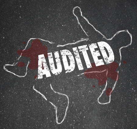 obligated: Audited word on a chalk outline of a dead body illustrating a feared accounting review or bad business bookkeeping of finances Stock Photo