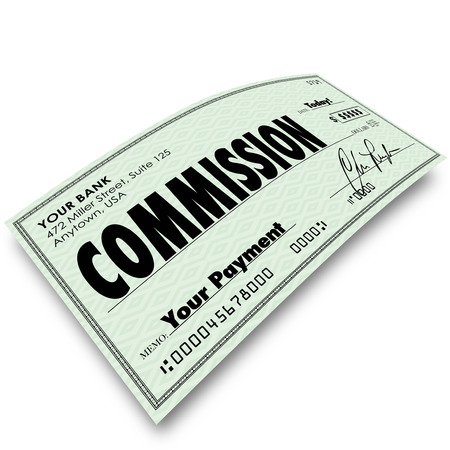 fringe benefit: Commission check on angle to represent your income, money earned or compensation from a sale or a bonus on a job well done for your company or business