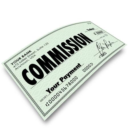 contrôle de la Commission sur l'angle pour représenter votre revenu, l'argent gagné ou de compensation d'une vente ou d'un bonus sur un travail bien fait pour votre entreprise ou d'affaires Banque d'images
