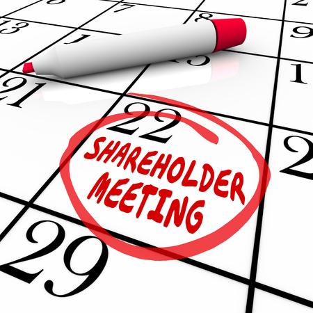 Shareholder Meeting day and date circled on a calendar or schedule as a reminder for investors and financial planners to see a presentation on a company or business Stok Fotoğraf
