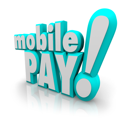 purchasers: Mobile Pay words in blue 3d letters to illustrate a cell or smart phone app for making a payment at a store, merchant or business Stock Photo