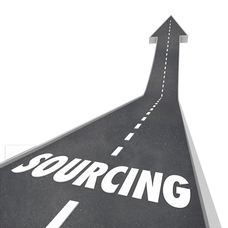 sourced: Sourcing word on a road pointing upward to illustrate a supplier, vendor or seller of parts, supplies or other products you need to purchase for your business