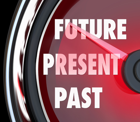 Future, Present and Past words on a red speedometer to predict whats coming next and looking forward to a successful tomorrow