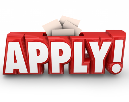 applications: Apply word in red 3d letters and slot for submitting or sending in your application or other documents like resume for a job