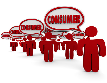 purchasers: Consumer word in speech bubbles over red people who are clients, customers or target market people or prospects for your advertising or products