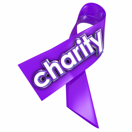 worthy: Charity word on a 3d purple ribbon to illustrate a fundraiser or awareness campaign for a non-profit or other worthy cause
