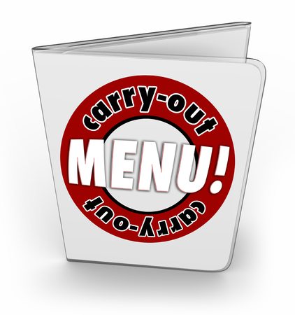 the convenient: Carry-Out Menu from a restaurant, diner or cafe for ordering food in convenient fast service Stock Photo