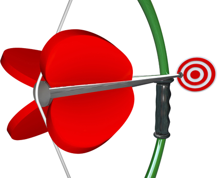 bulls eye: Bow and Arrow aiming at target or bulls eye to illustrate winning a game or competition
