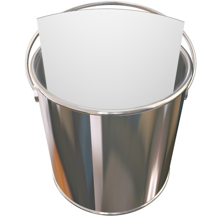 things to do: Metal, shiny pail to illustrate a bucket list for things you want to do before you die Stock Photo