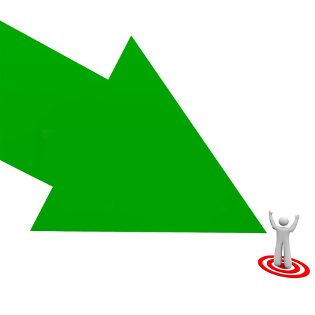 bulls eye: Target your audience green arrow pointing to a customer, client or prospect on a bulls eye to illustrate advertising and marketing