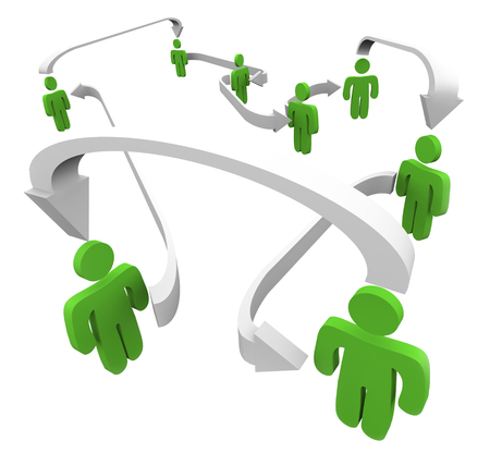 networking people: Green connected people networking in communication as they share or spread information Stock Photo
