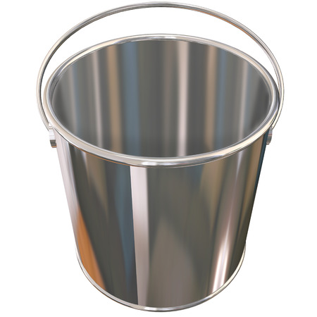 hauling: Shiny metal empty silver bucket or pail
