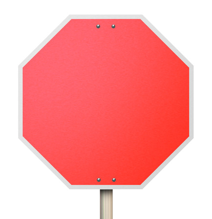 A red octogon shapped sign symbolizing the need to stop, halt or end Stock Photo